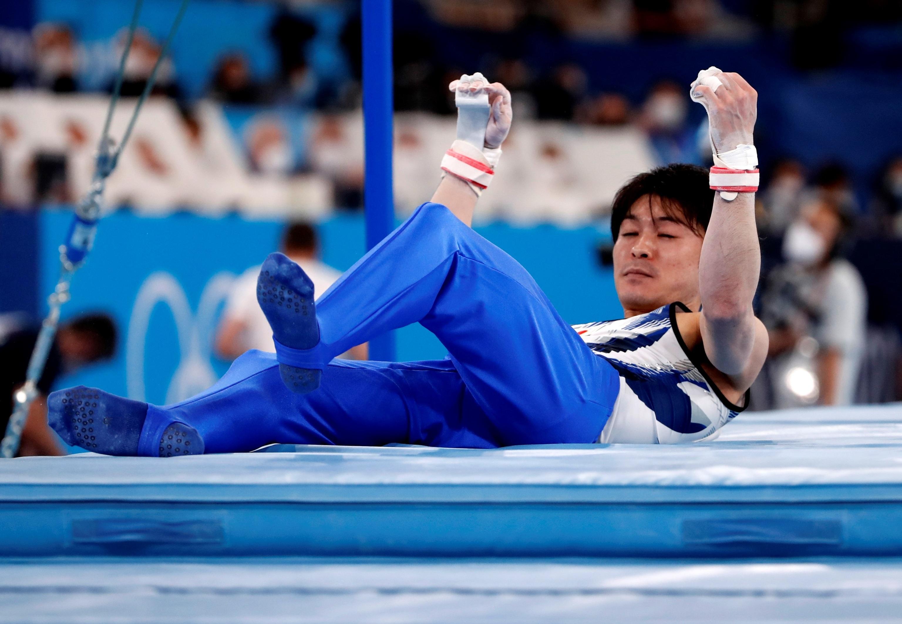 Kohei Uchimura, caído ayer.