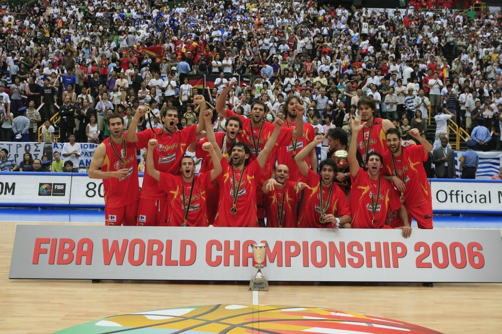 La selección española tras ganar el Mundial de 2006 en Saitama.