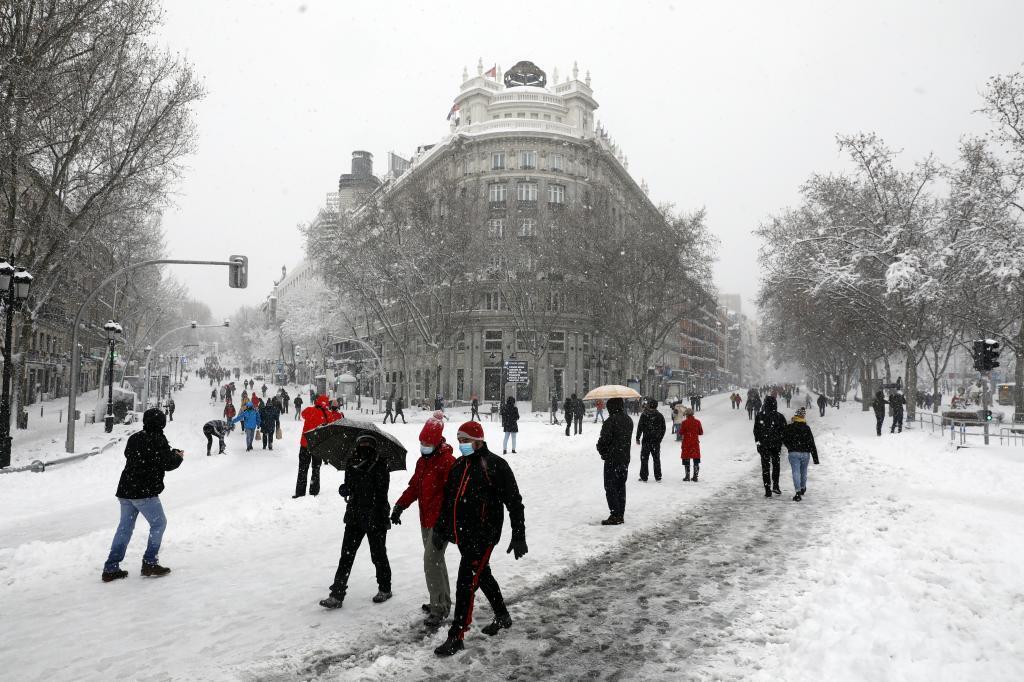 El Paseo del Prado, durante la tormenta Filomena.