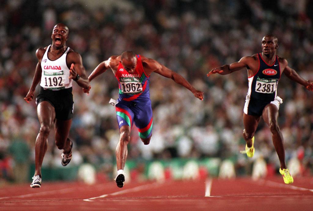 Bailey, Fredericks y Mitchell, en la final de los 100 metros en Atlanta '96.