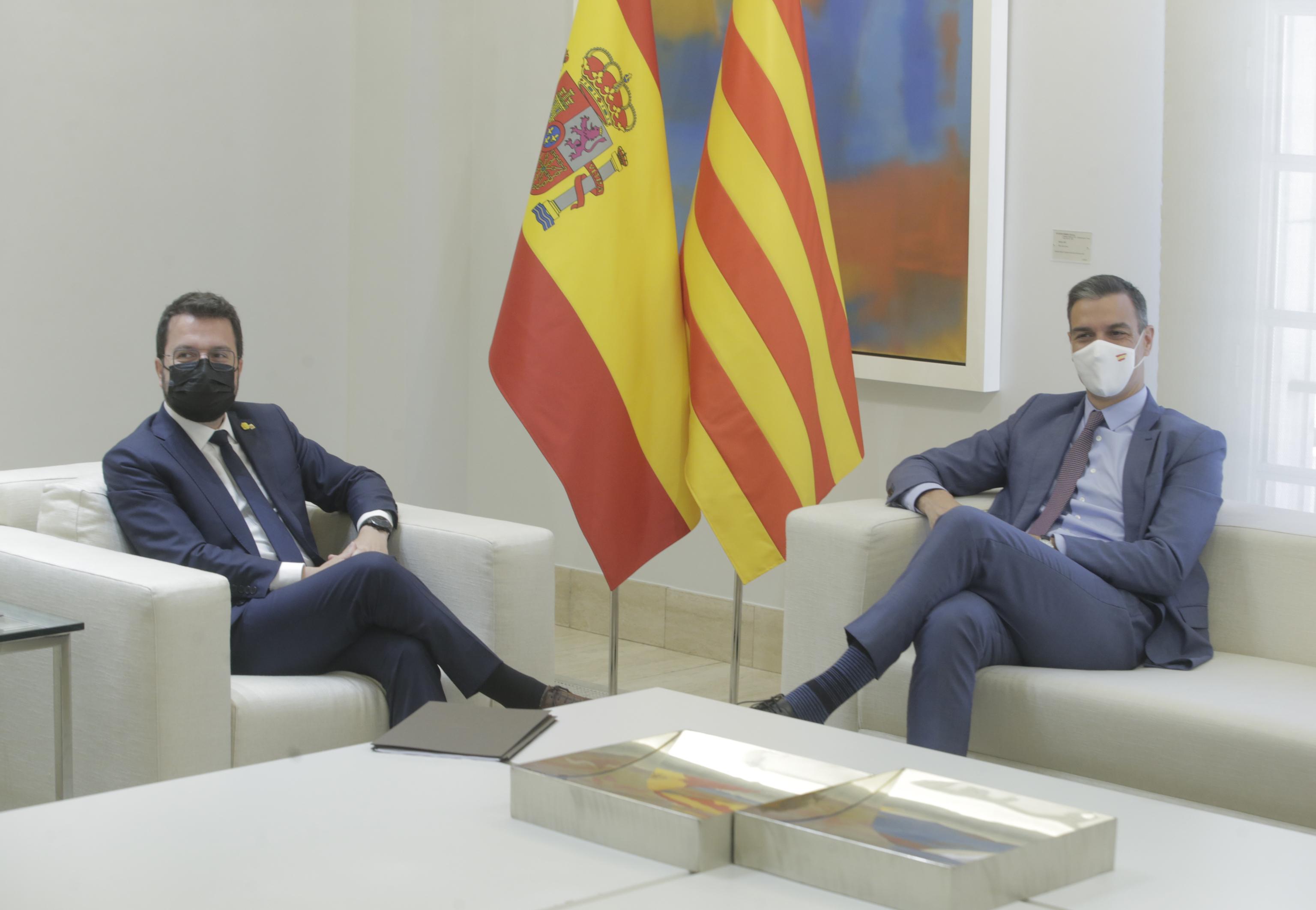 Pere Aragonès y Pedro Sánchez.