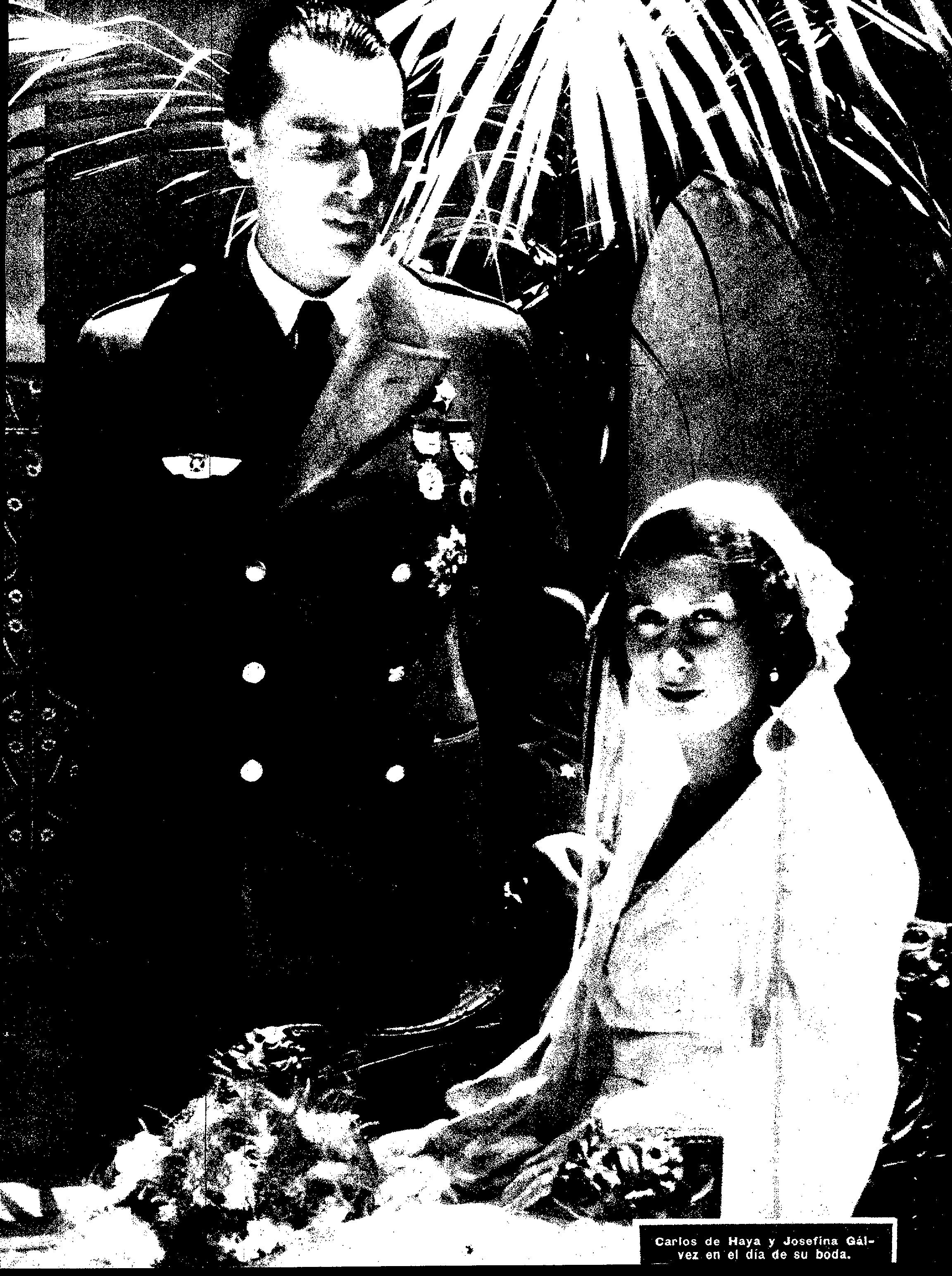 Histórica imagen de la boda de Carlos de Haya y Josefina Gálvez, celebrada el 16 de julio de 1932.