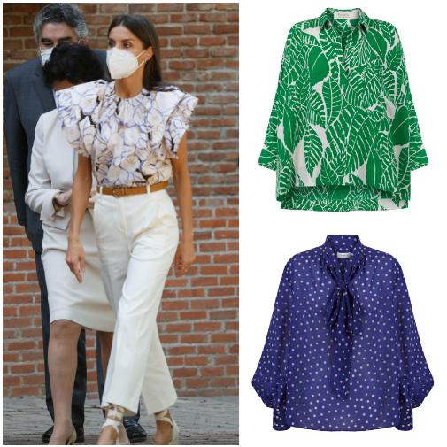 La Reina Letizia con top de Psophía y otras dos blusas de estampados veraniegos de la colección veraniega de la marca.