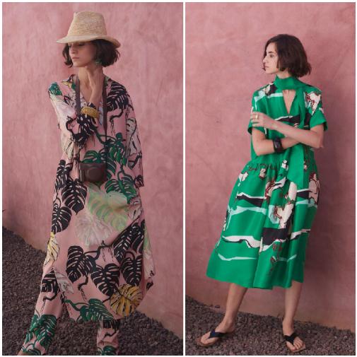Dos vestidos túnica de la colección de P/V 2021 de Psophía, la prenda que no falta en el verano de Paloma Vázquez de Castro.