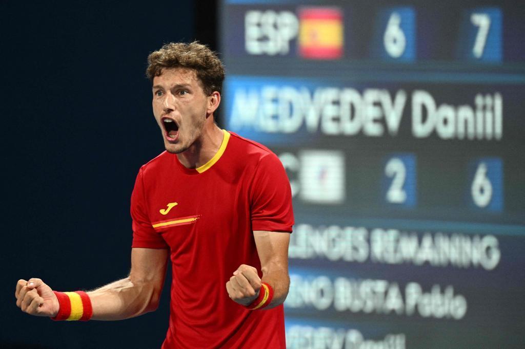 Pablo Carreño celebra la victoria en cuartos.