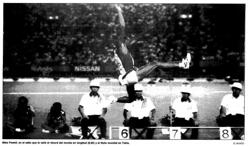 Powell, durante la final de longitud del Mundial de 1991.