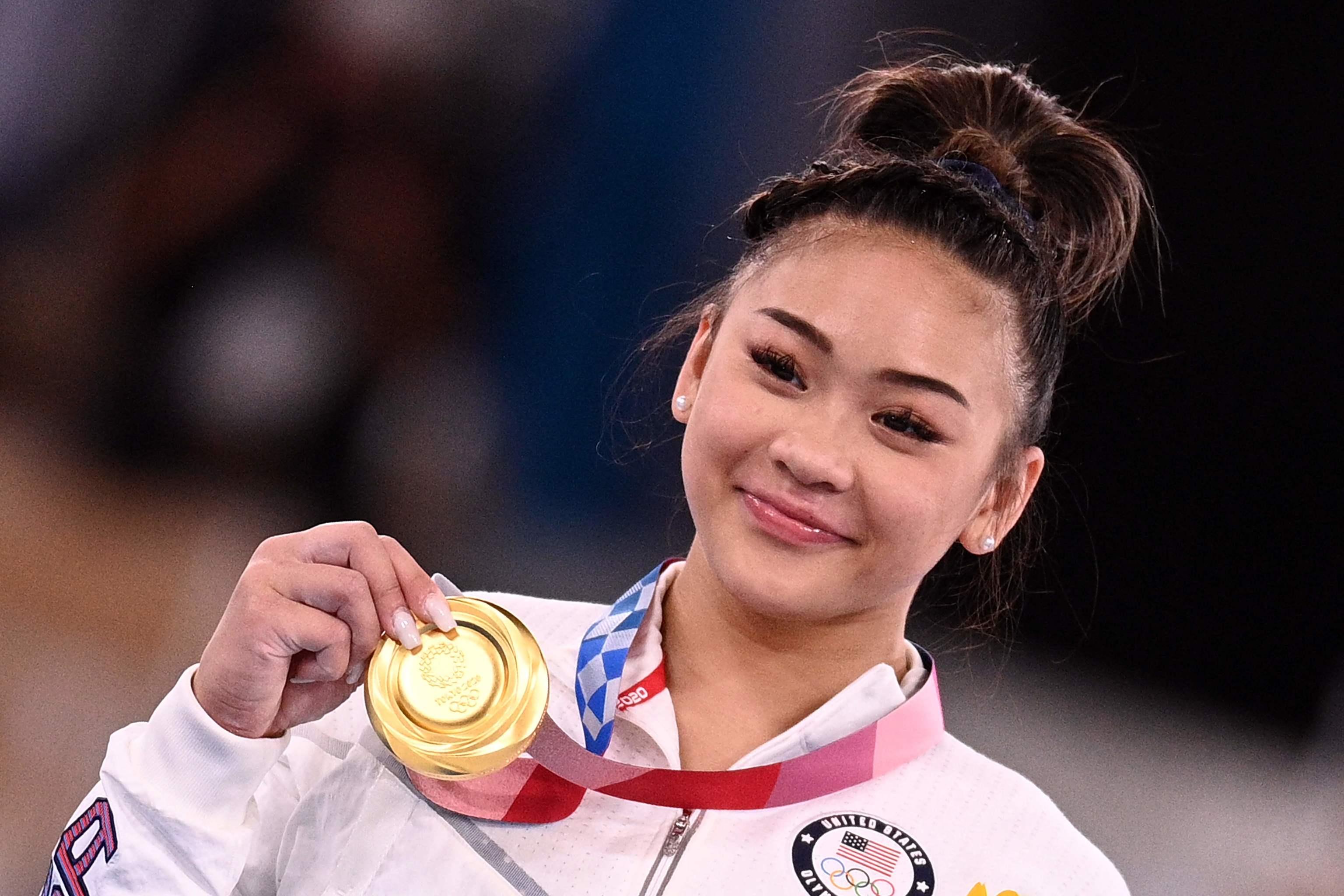 Sunisa Lee, con la medalla de oro, este jueves.