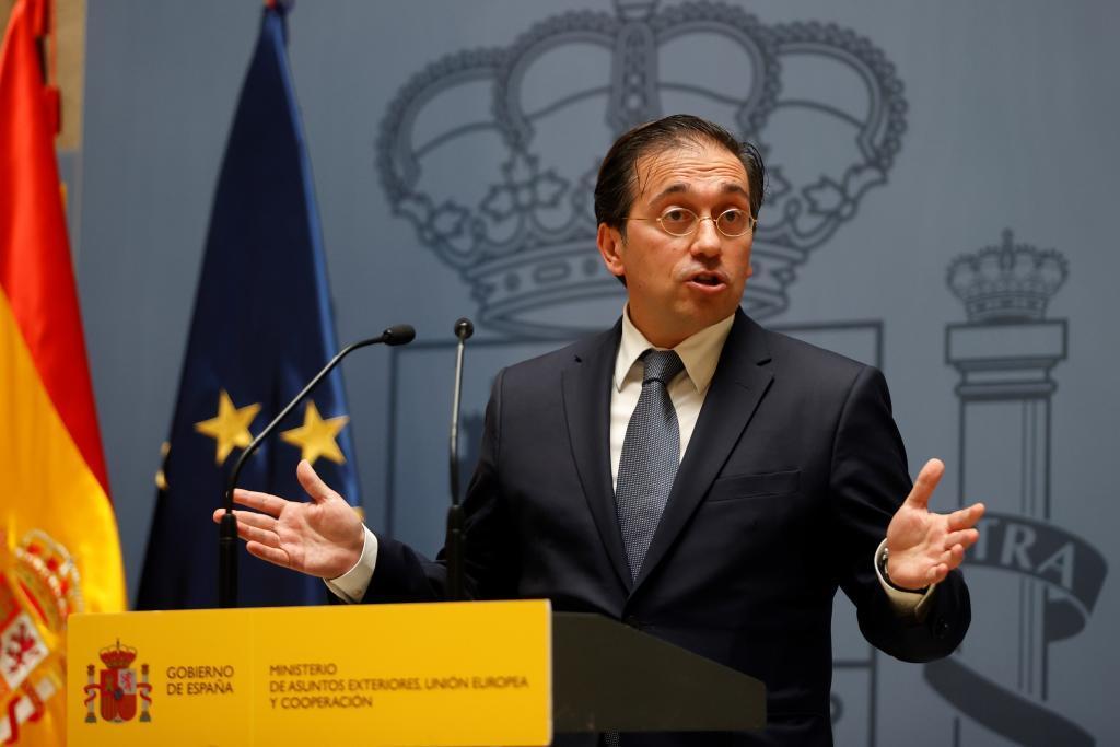 José Manuel Albares, durante la toma de posesión del nuevo subsecretario de Exteriores, Luis Cuesta.