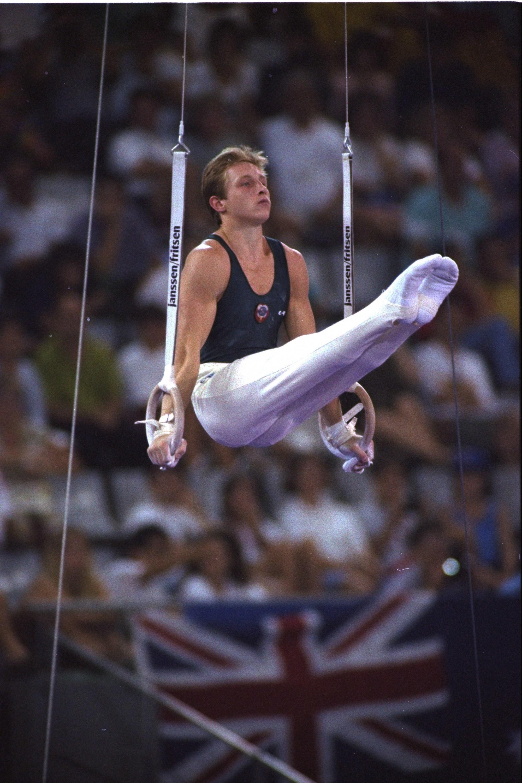 Scherbo, durante su ejercicio de anillas en Barcelona'92.