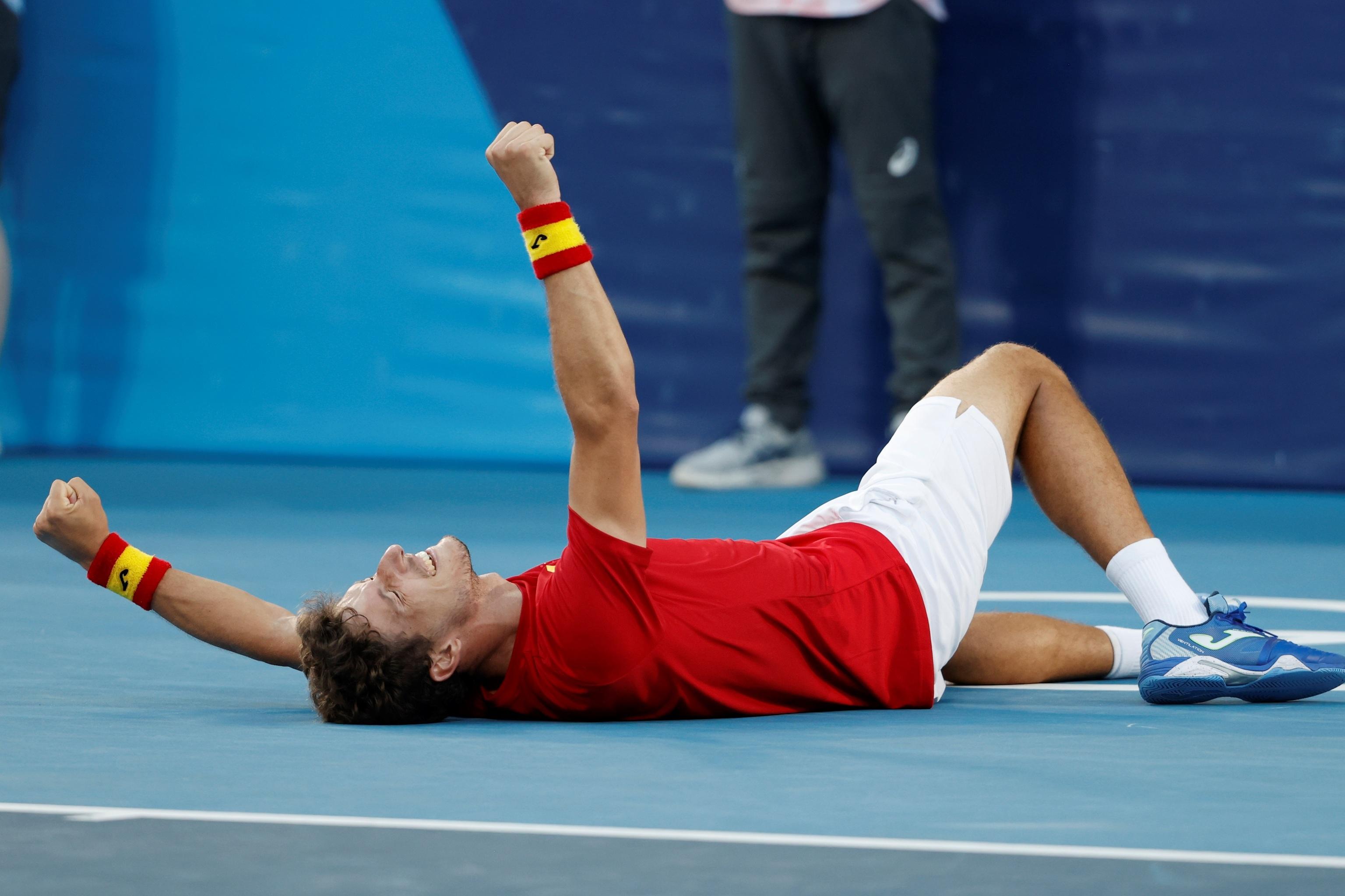 Carreño, tras el último punto del partido ante Djokovic.