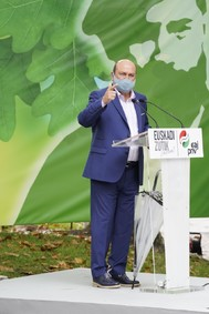El presidente del PNV Andoni Ortuzar durante la celebración del 126 aniversario de la fundación del partido creado por Sabino Arana.