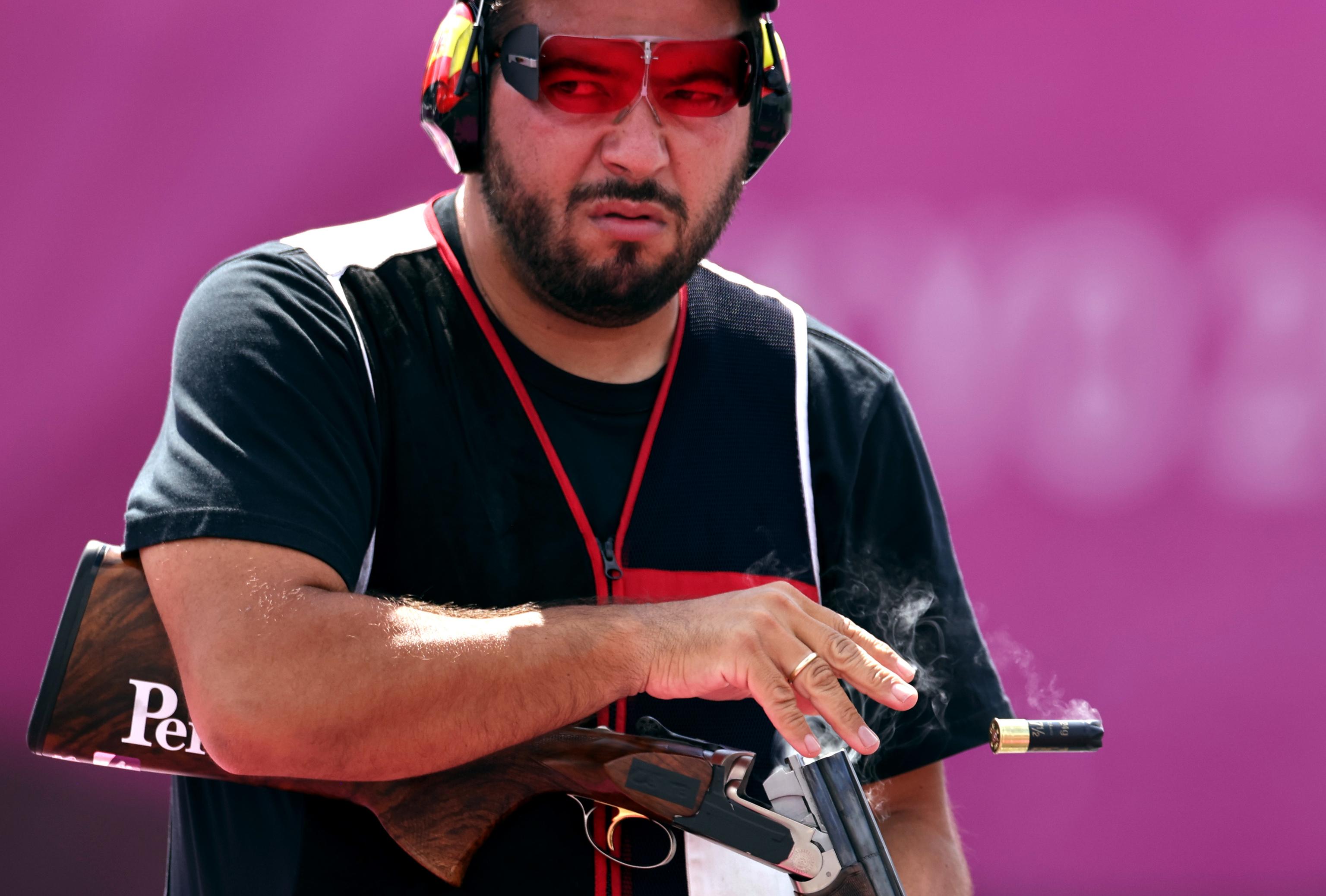 Alberto Fernandez durante la final de tiro olímpico.