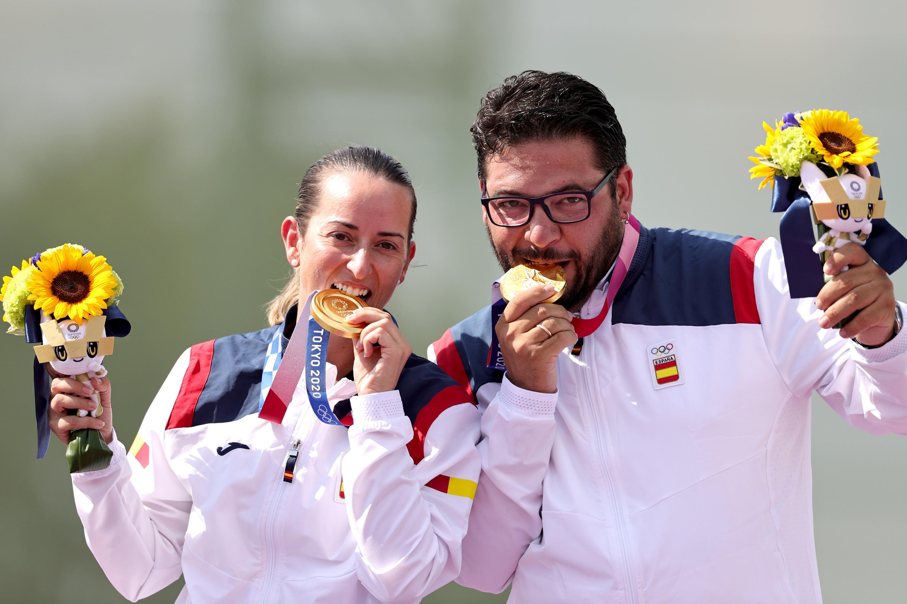 Fátima Gálvez y Alberto Fernández, en el podio.