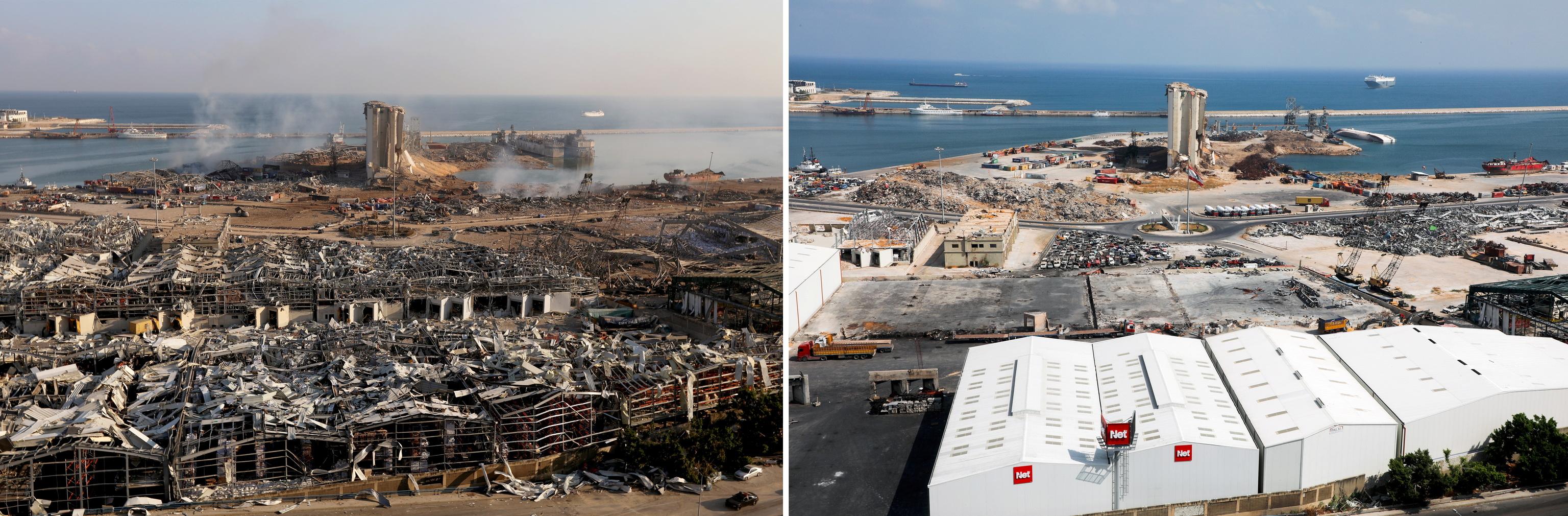 Foto comparativa del antes y el después de la explosión en el puerto de Beirut.