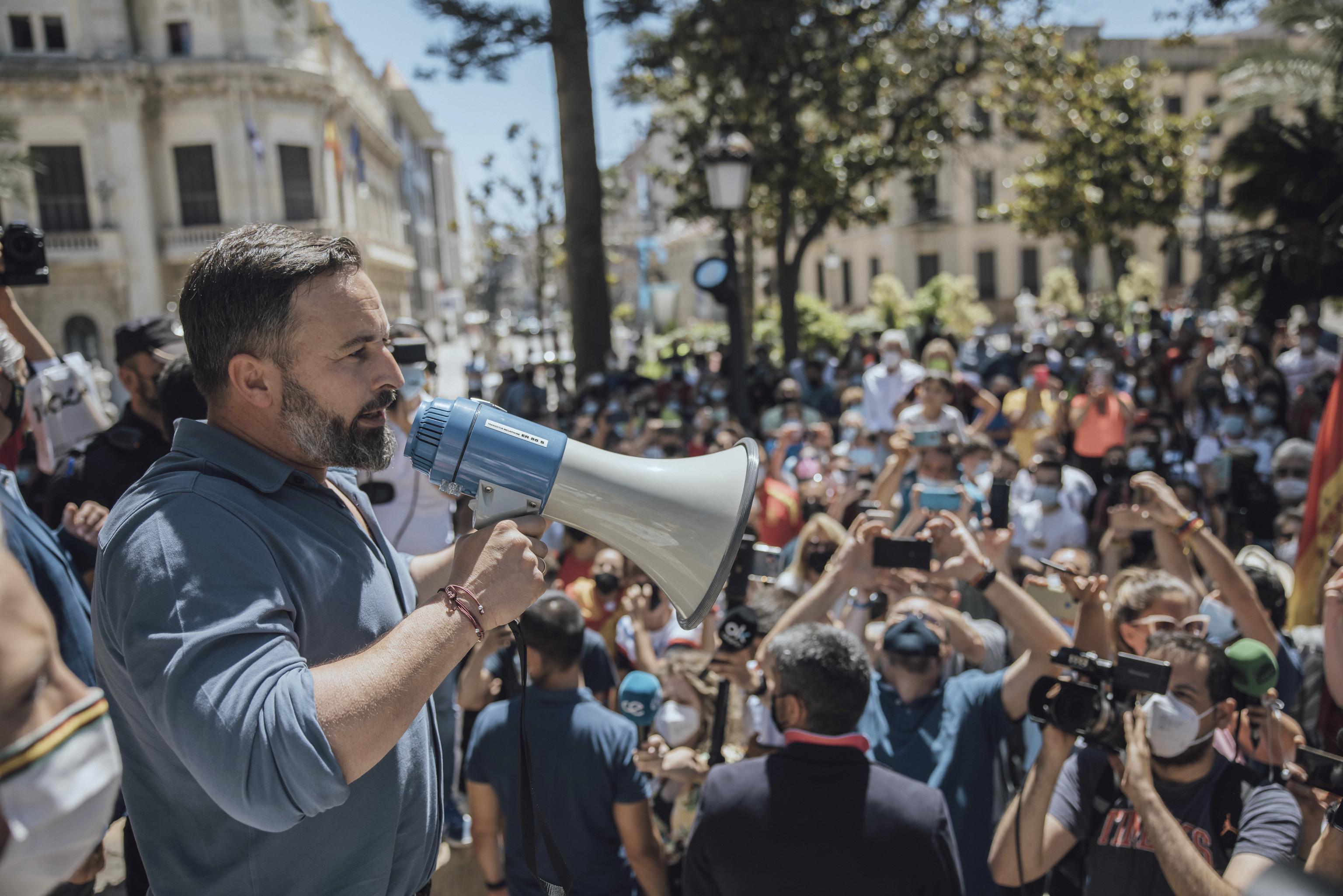 El presidente de Vox, Santiago Abascal, durante su visiga a Ceuta.