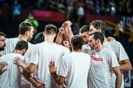 La selección española, tras el partido contra EEUU.
