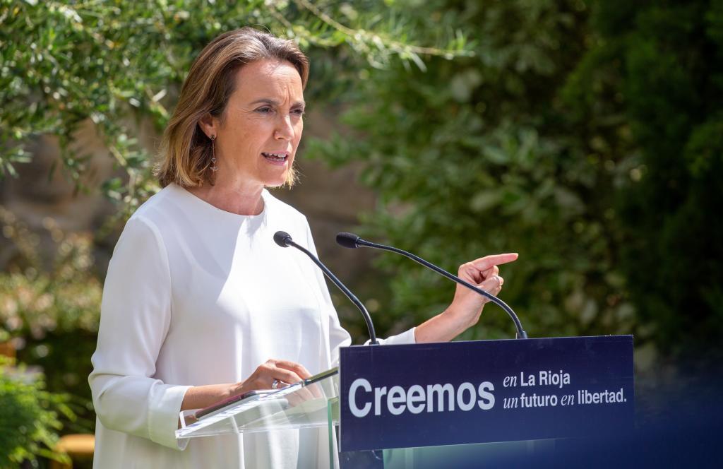 Cuca Gamarra, portavoz del PP en el Congreso, en un acto en Logroño.