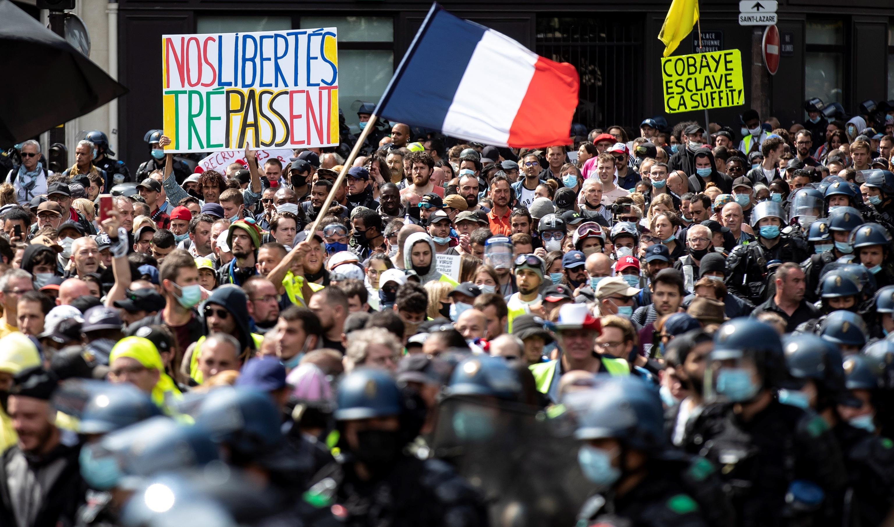Manifestantes en una de las protestas de París.