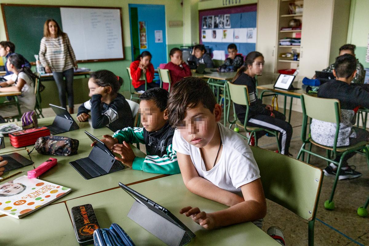 Alumnos de un colegio de León.