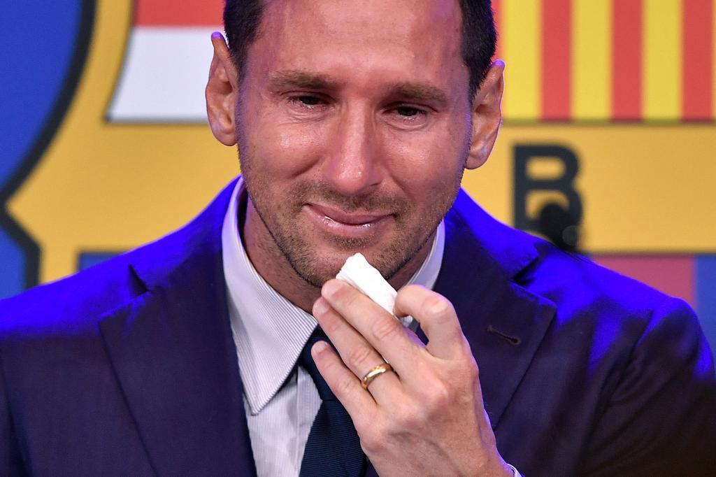 Leo Messi en el acto de despedida.