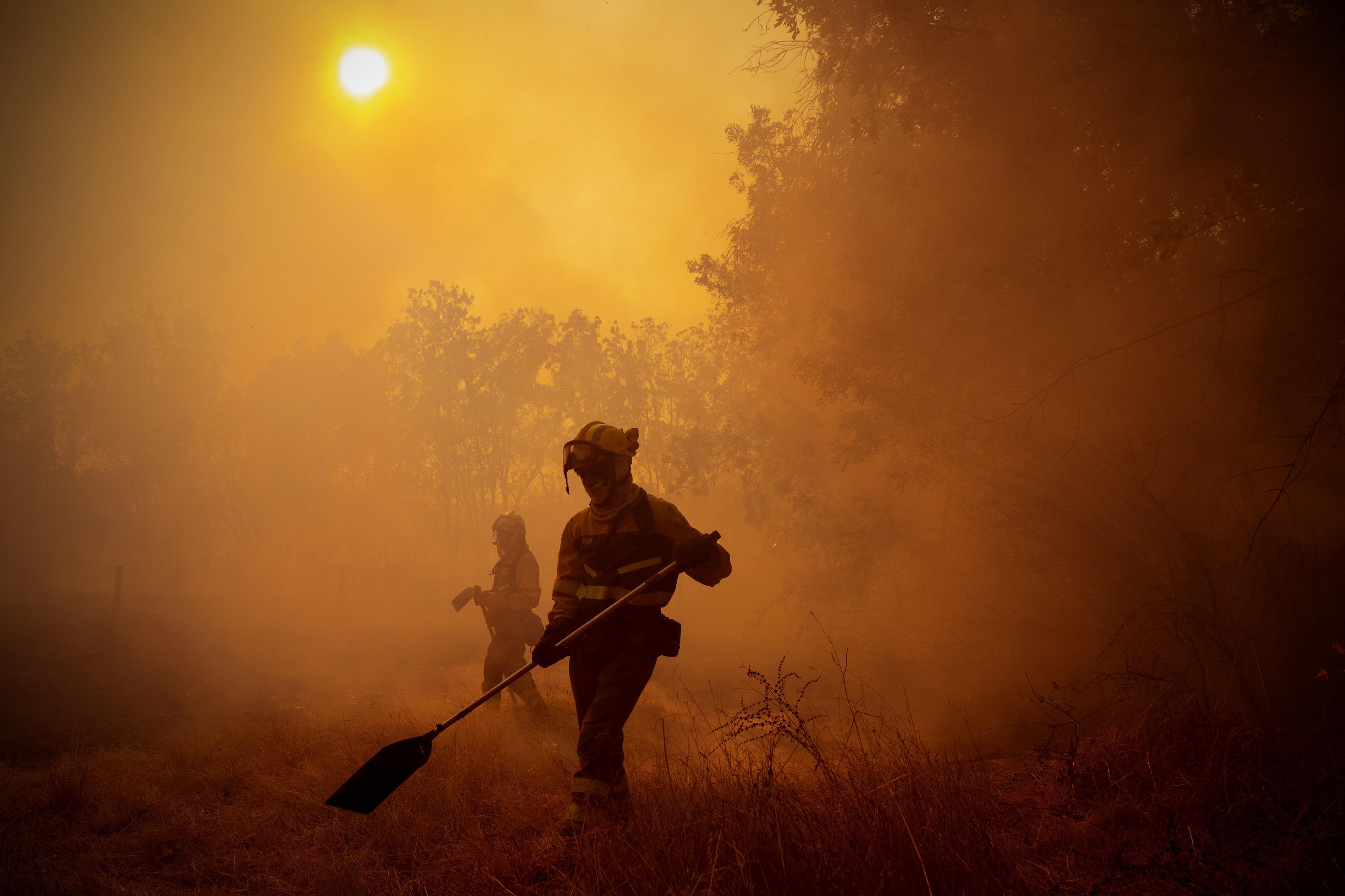 Labores de extinción en el incendio forestal de Ávila.
