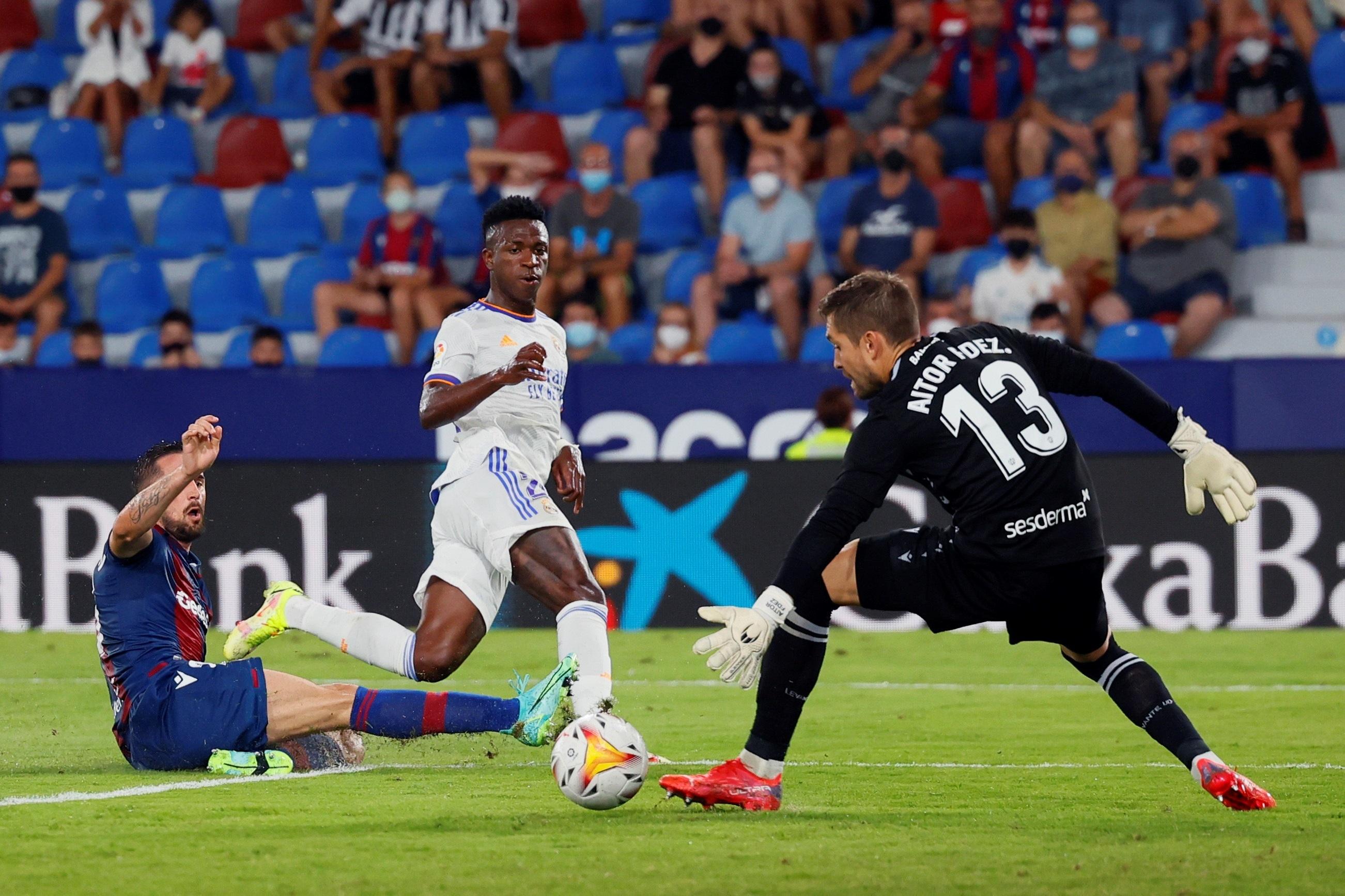 Vinicius anota su primer gol ante el Levante.