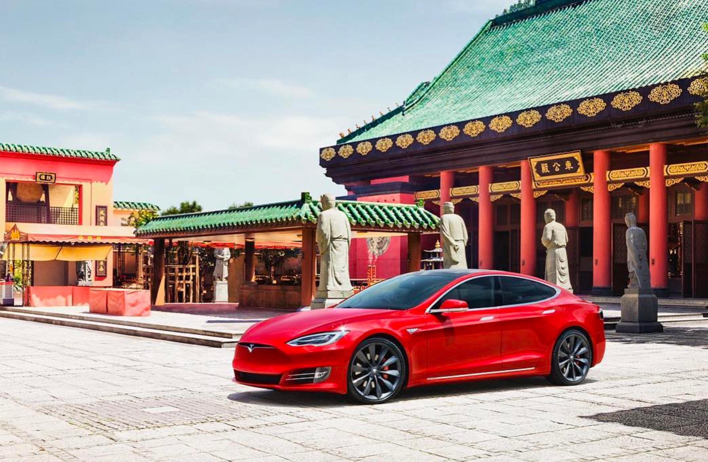 Imagen promocional de un Tesla Model S en China