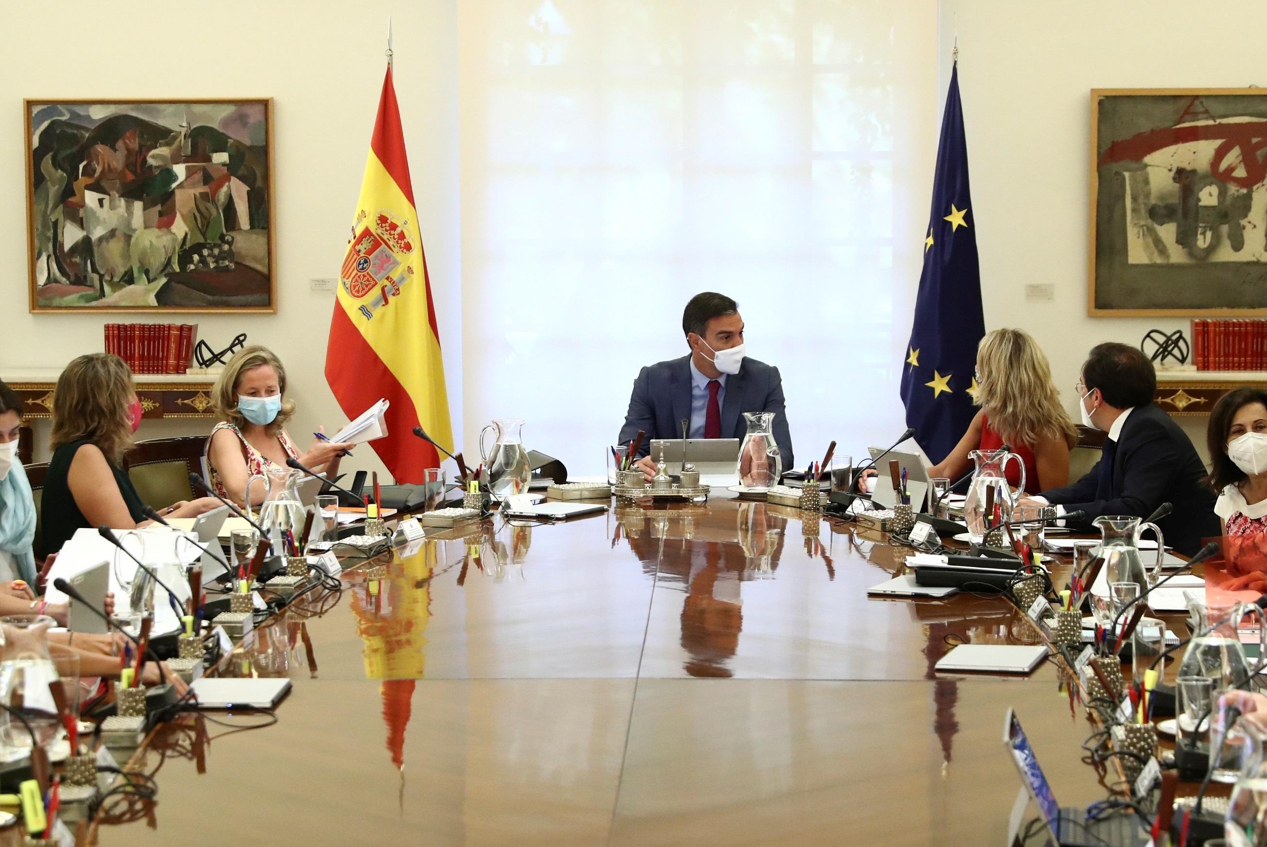 Pedro Sánchez, este martes, en el Consejo de Ministros.