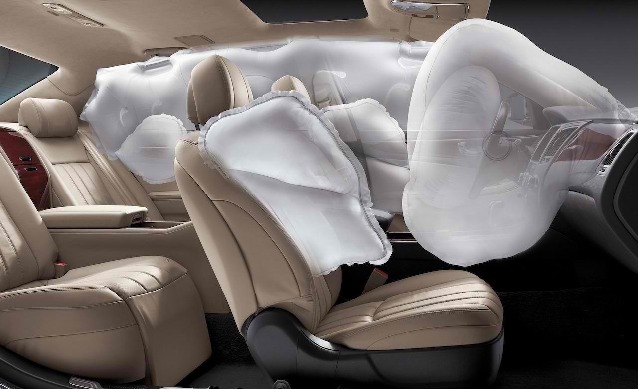 Distintos tipos de airbag en un coche moderno