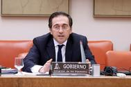 José Manuel Albares, durante su comparecencia en la Comisión de Exteriores.