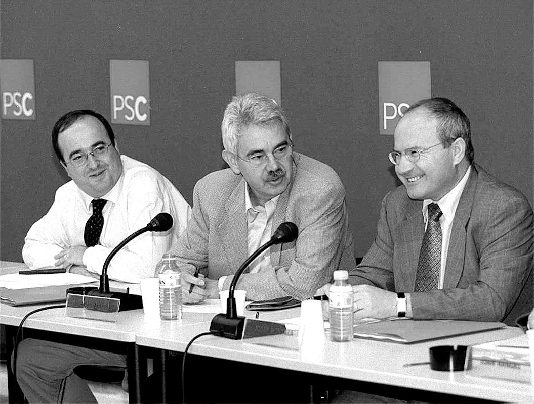 Miquel Iceta, Pasqual Maragall y José Montilla en 2001.