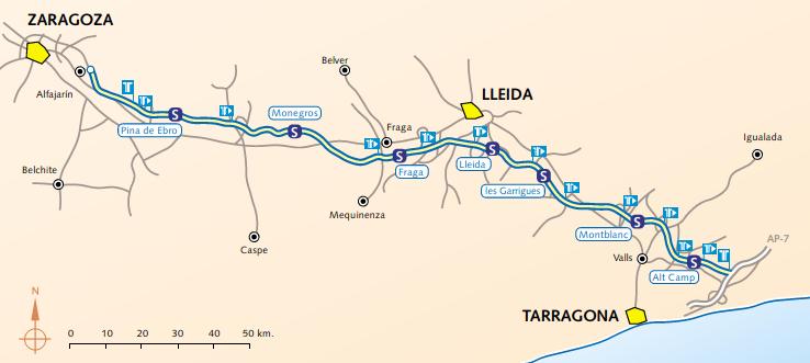 Tramo de la AP-2 liberalizado entre Tarragona y Zaragoza