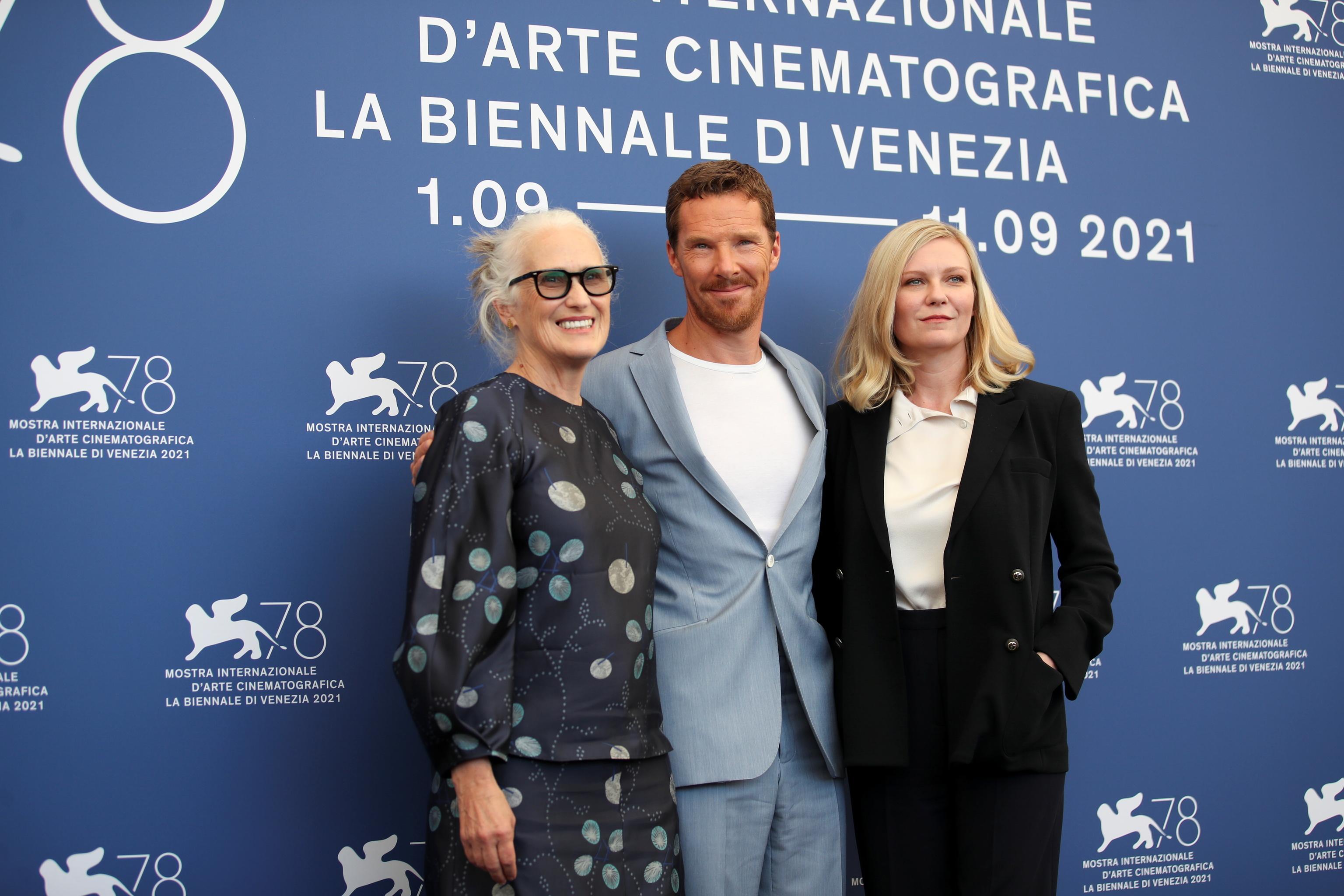 Jane Campion, Benedict Cumberbatch y Kirsten Dunst.