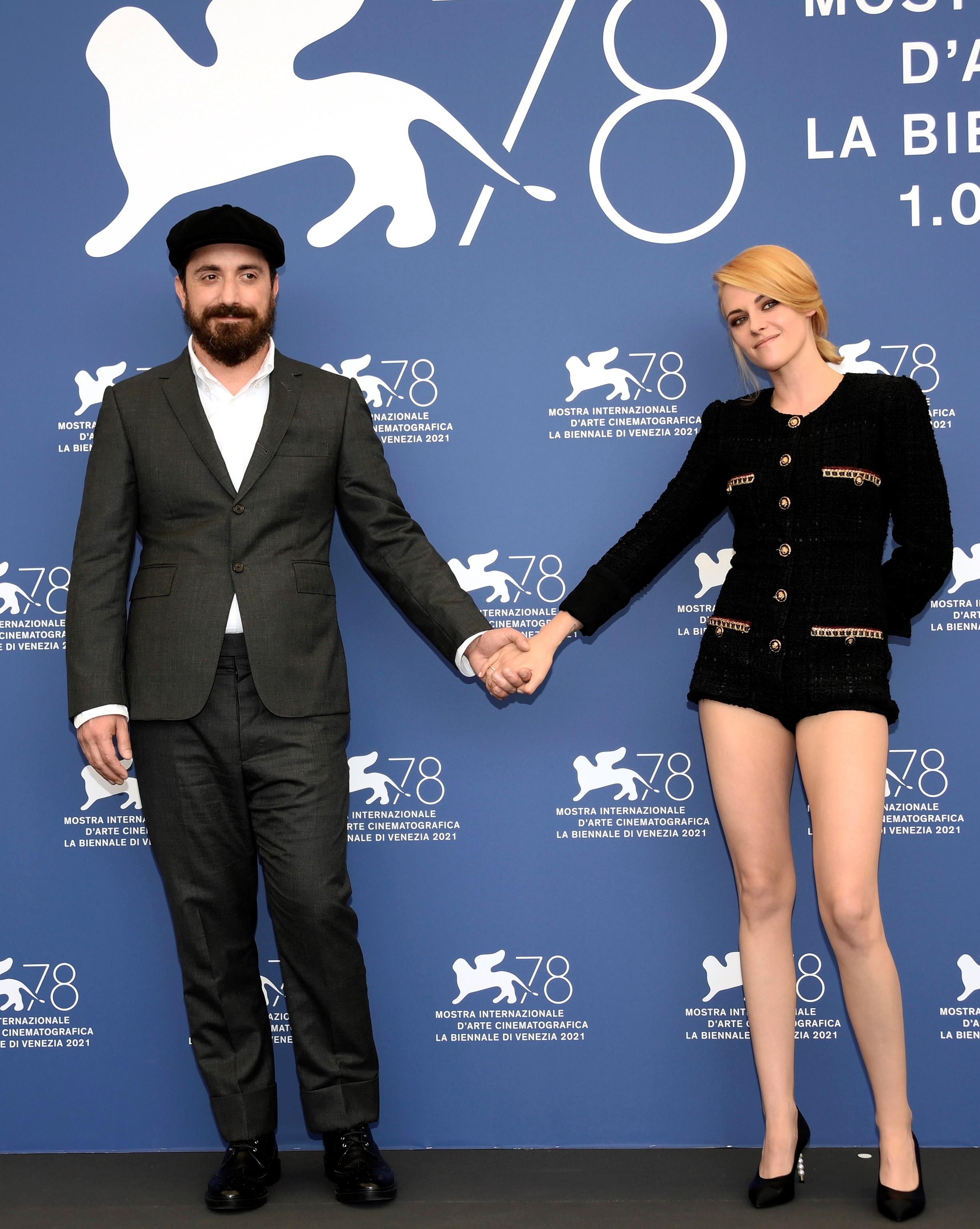 Pablo Larraín y Kristen Stewart, hoy en Venecia.