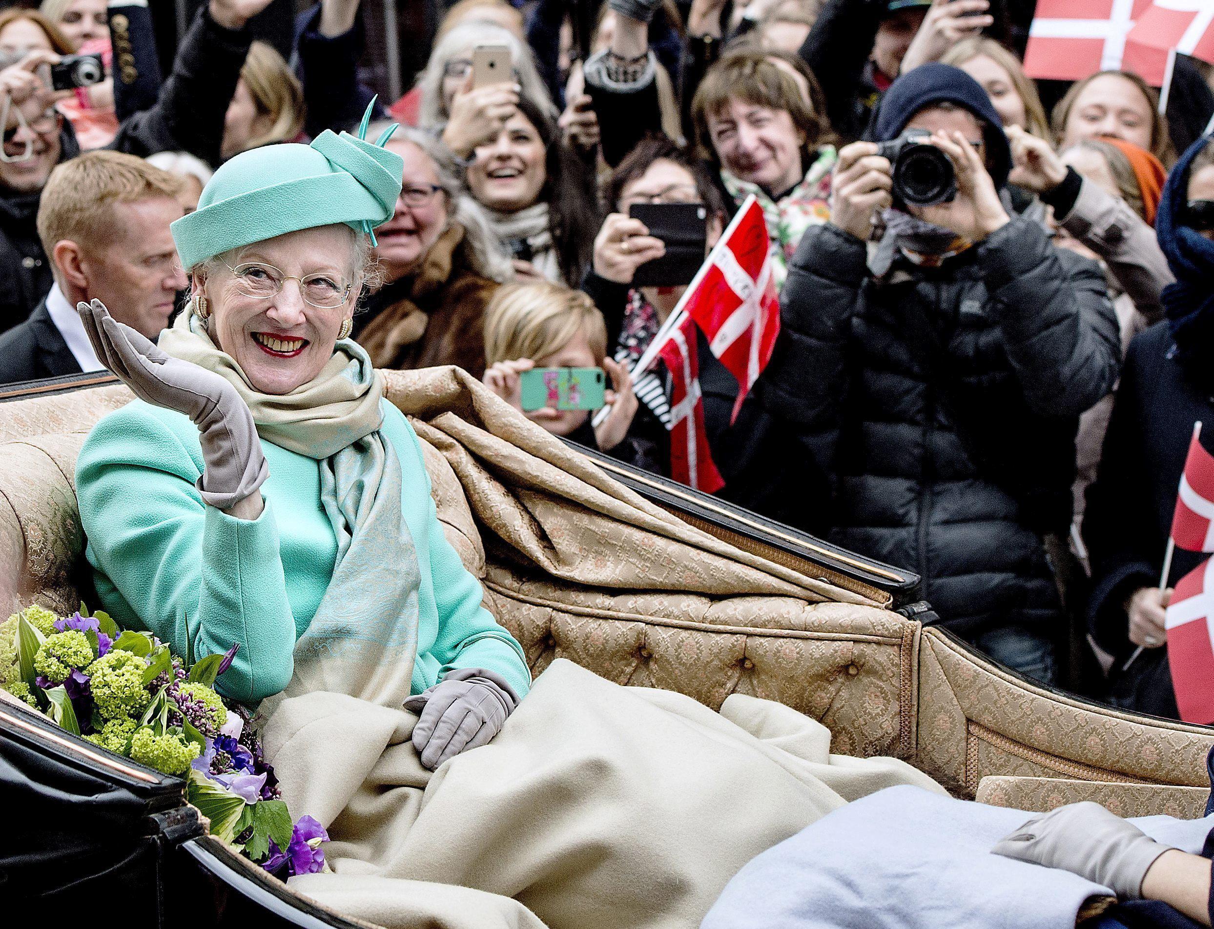 La reina Margarita de Dinamarca en la celebración de su 75 cumpleaños, en 2015.