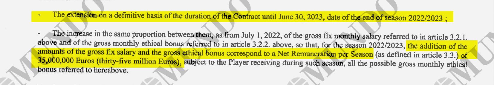 El documento refleja el incremento salarial en caso de seguir una sexta temporada.