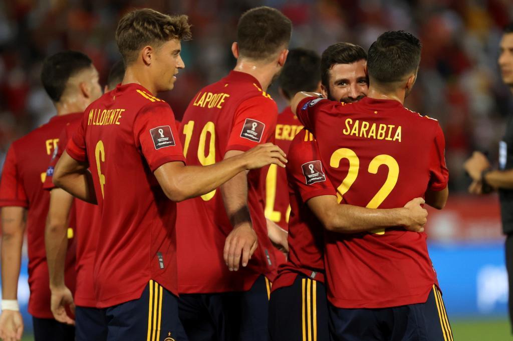 La selección española celebra uno de los goles ante Georgia