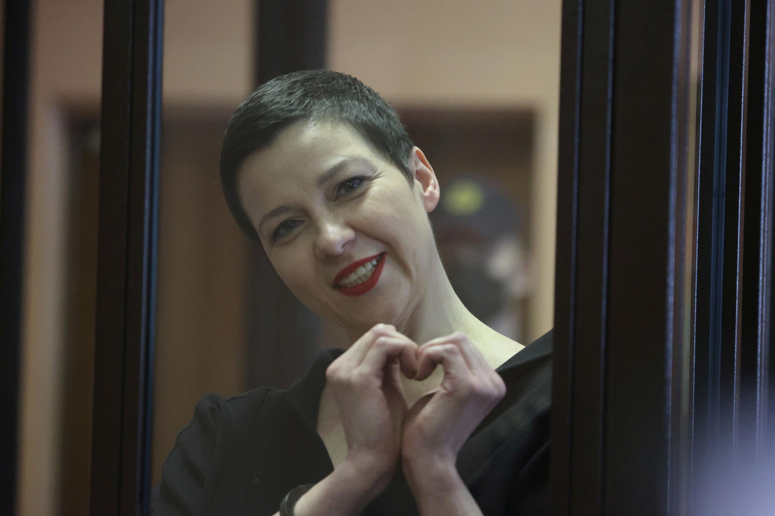 María Kolésnikova durante la lectura de la sentencia.