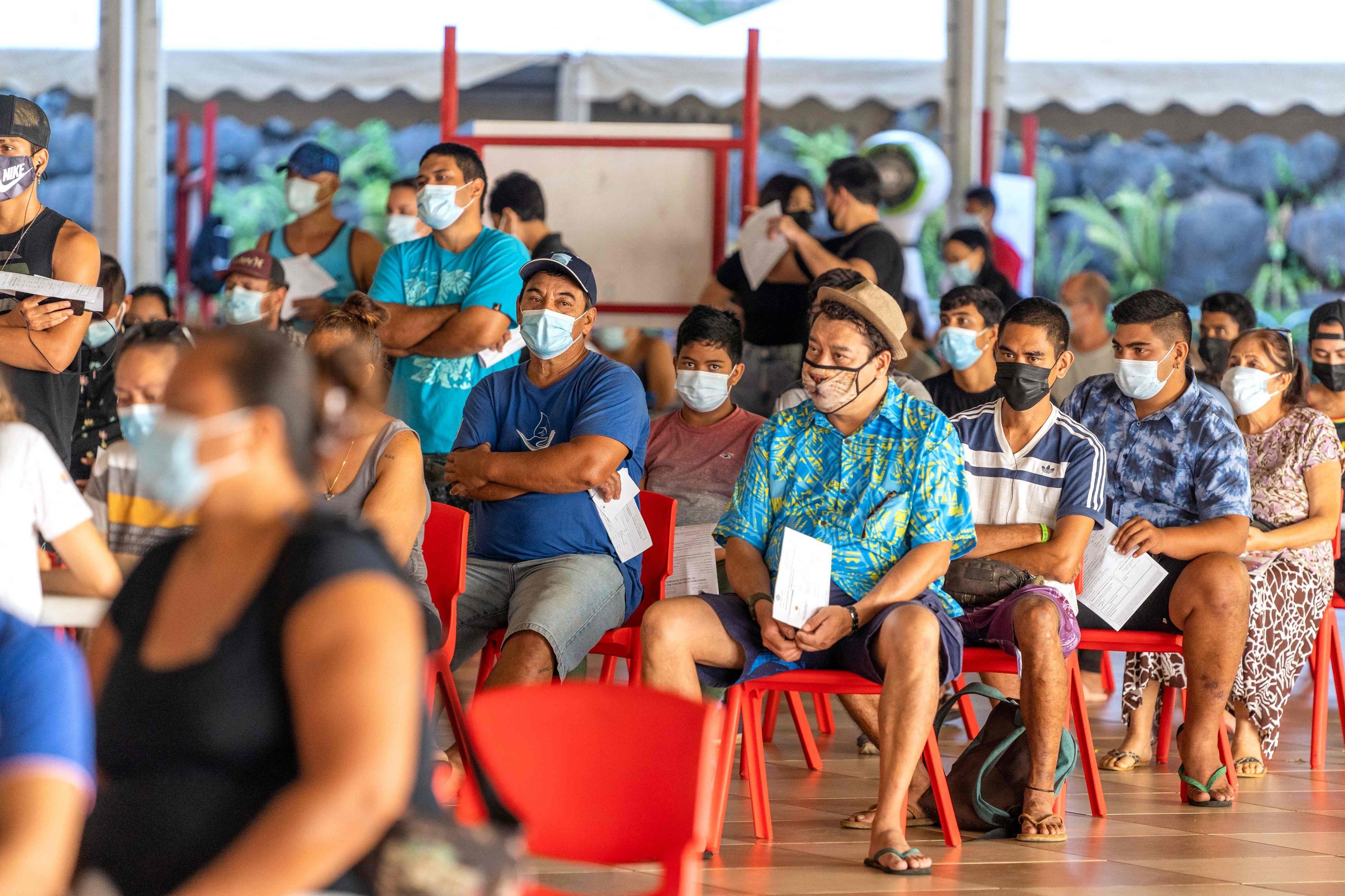 Punto de vacunación en Papeete, Polinesia francesa.