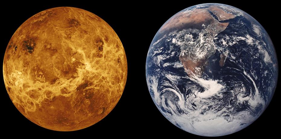 Comparación de Venus y la Tierra