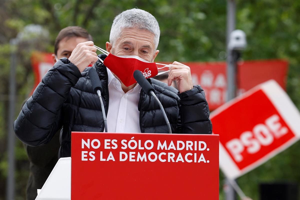 Fernando Grande-Marlaska, durante un acto del PSOE para el 4-M.