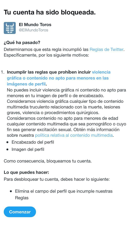 """Twitter censura el perfil de la sección de toros de EL MUNDO al considerar que contiene """"violencia gráfica"""""""
