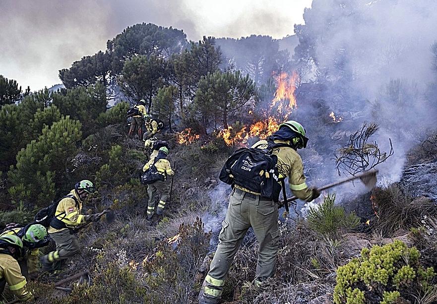 Bomberos luchando contra el fuego cerca de Jubrique