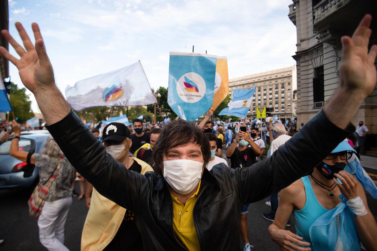 Javier Milei, en una protesta en Buenos Aires.