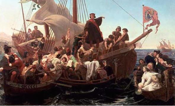 Cristóbal Colón a bordo de la Santa María en 1492 (1855) óleo de Emanuel Leutze.