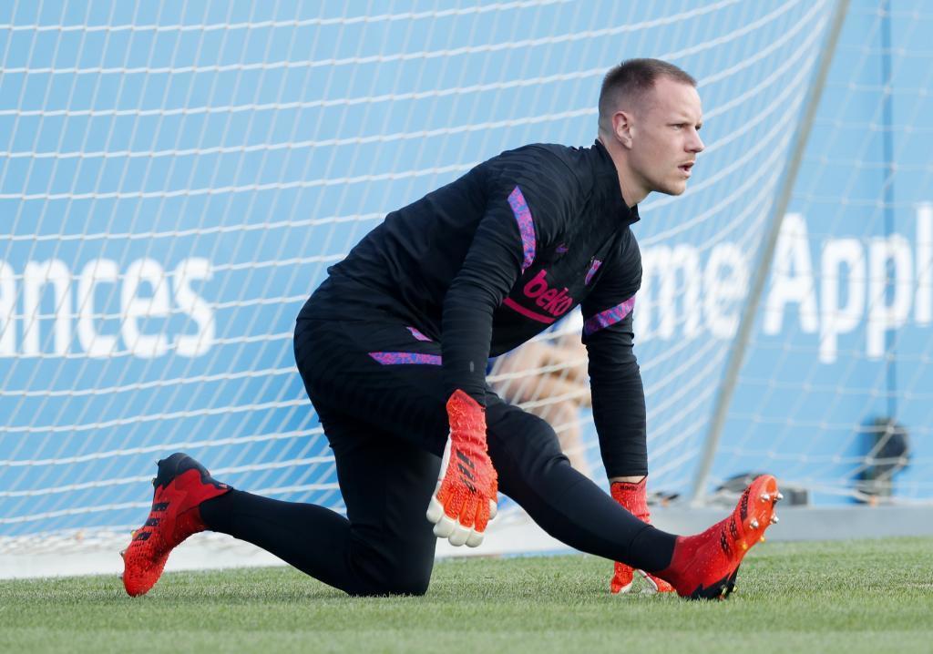 Ter Stegen en un entrenamiento del Barça