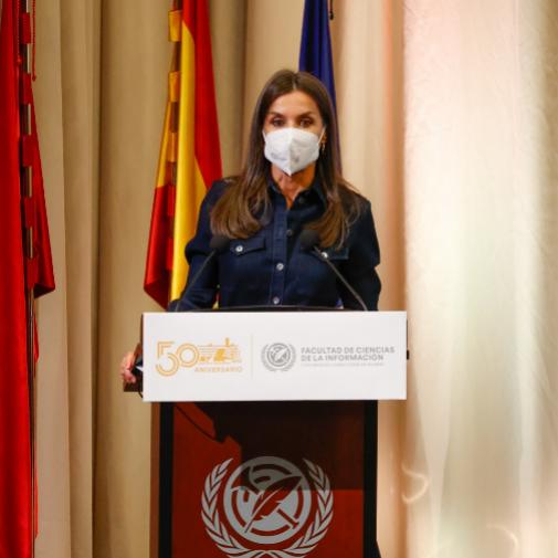 La Reina en un momento de su discurso en el 50º aniversario de la creación de la Facultad de Ciencias de la Información' de la Universidad Complutense de Madrid.