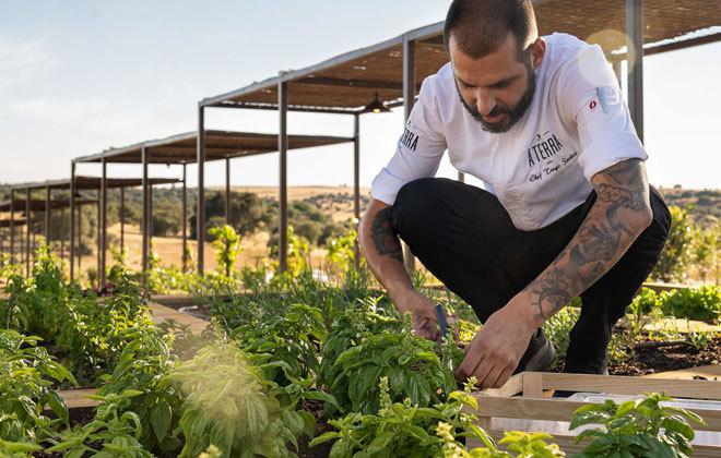 El chef Tiago Santos en el huerto ecológico.