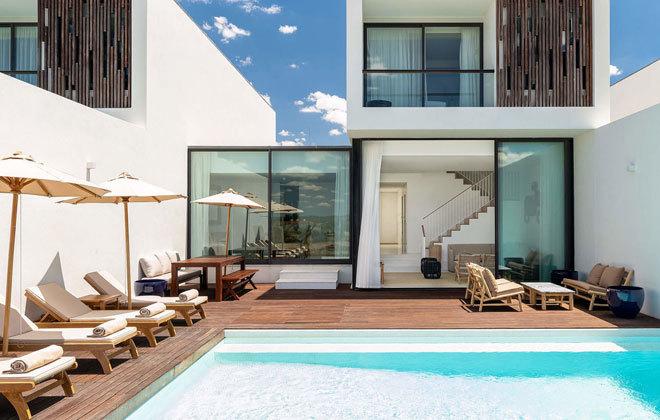 Las villas del hotel tienen su propia piscina privada.