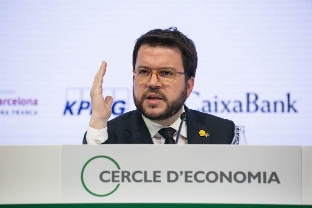 Pere Aragonès, en un acto del Círculo de Economía.